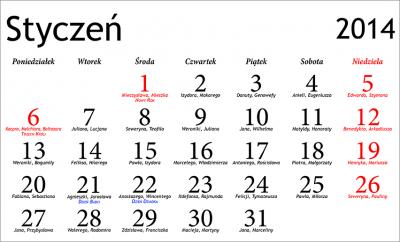 Kalendarz 2014 z imieninami