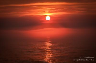 Zachód słońca imorska mgła