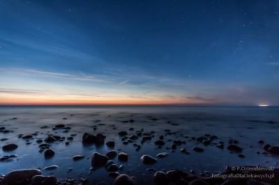 Zachód słońca i gwiazdy