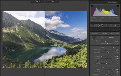 Lightroom - Develop - Basic - ustawienia wcelu usunięcia zamglenia zezdjęcia