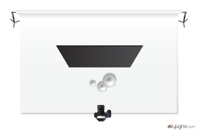 Schemat oświetlenia dofotografowania baniek mydlanych