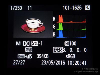 Zdjęcie zniewielkim prześwietleniem widocznym zapomocą alarmu przeswietleń.