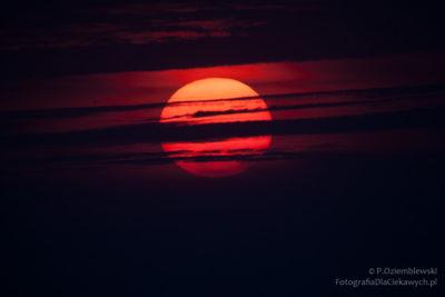 Czerwone słońce - zdjęcie źródłowe