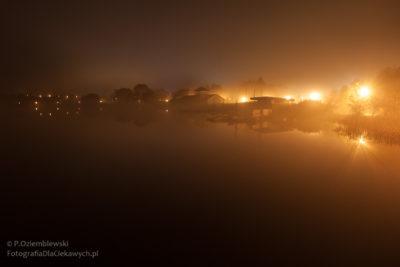 Chodzież nocą - jezioro Chodzieskie