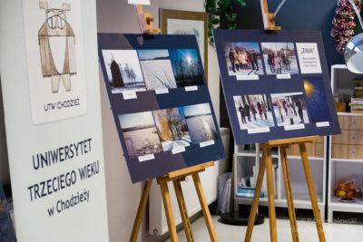 Prezentowane prace uczestników sekcji fotograficznej UTW wChodzieży
