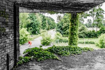 Opuszczony basen - pozostawienie koloru zielonego nacałości iczerwonego wokreślonym obszarze