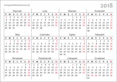 Kalendarz 2018 - układ roczny