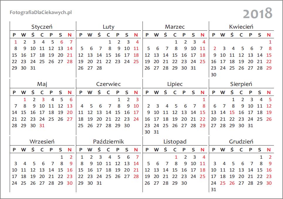 Kalendarz 2018 Do Pobrania I Druku Pliki Pdf I Inne Formaty