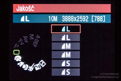 Menu aparatu - format zapisu JPG
