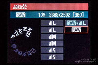 Menu aparatu - format zapisu RAW