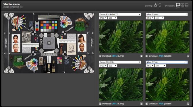 Porównywarka aparatów i zdjęcia specjalnej tablicy testowej