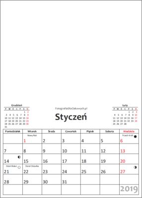Kalendarz 2019 dowydrukowania - miesiące