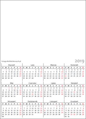 Kalendarz 2019 dowydrukowania - układ roczny