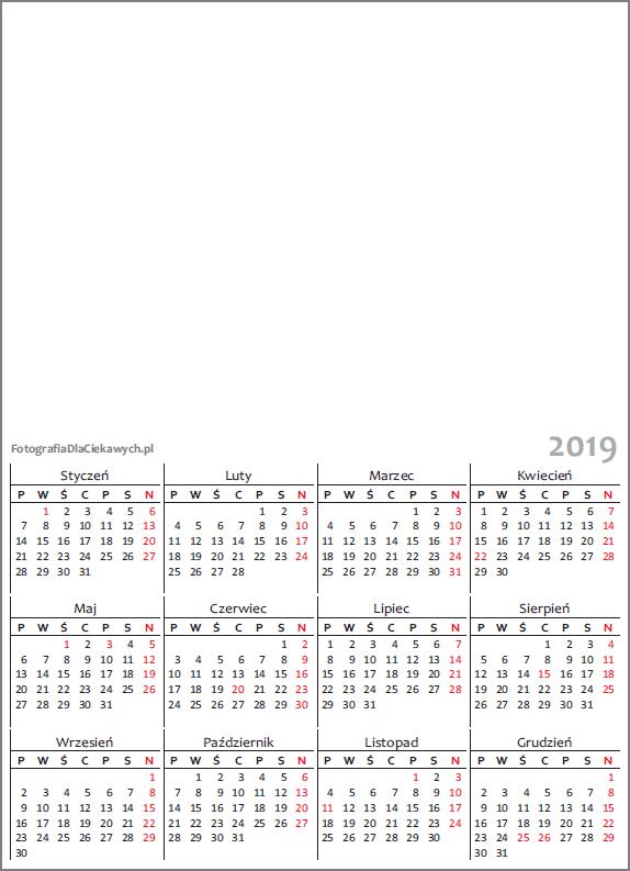 Kalendarz 2019 Do Druku Plik Pdf Oraz Inne Formaty Również Do Edycji