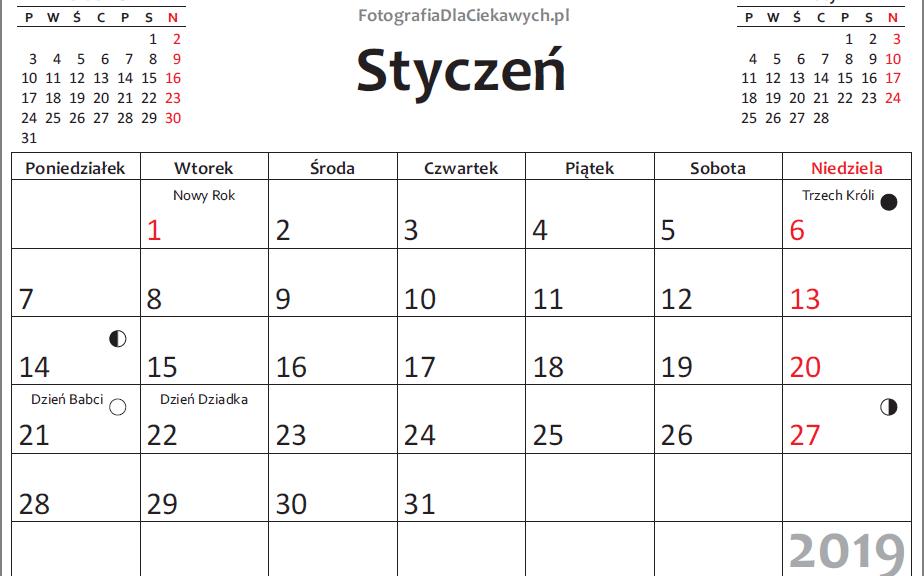 Kalendarz 2019 do druku - miesiące