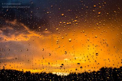 Z kroplami deszczu naszybie