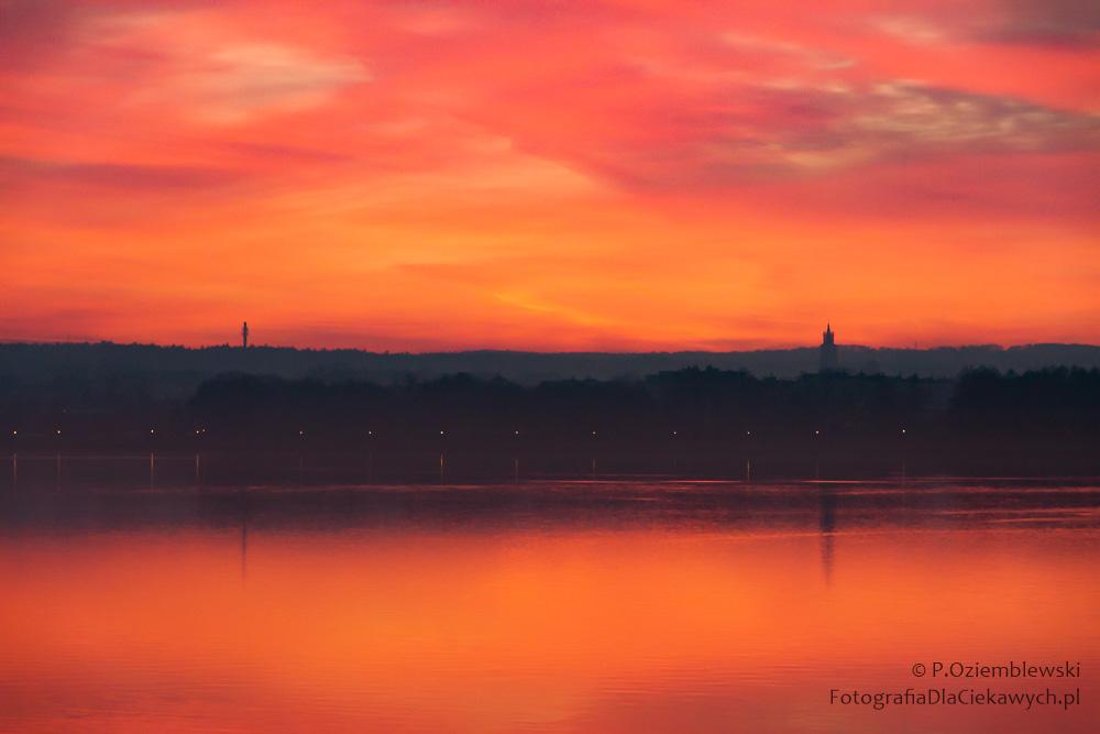 Zachód słońca nadjeziorem Chodzieskim