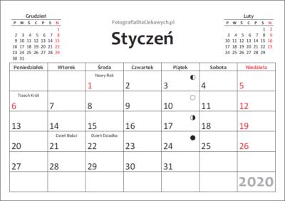 Kalendarz 2020 dodruku nacałą stronę - miesiące, święta