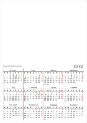 Kalendarz 2020 dowydrukowania - układ roczny, pionowy