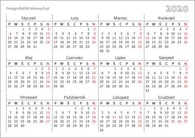 Kalendarz 2020 dodruku nacałą stronę - układ roczny