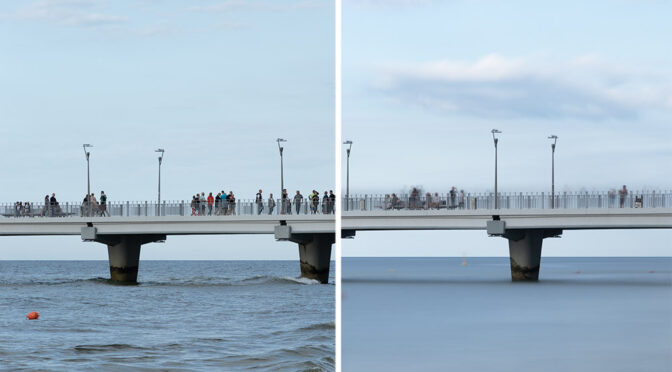 Jak długi czas naświetlania, by rozmyć ruch ludzi, morza i chmur?