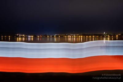 Świetlna flaga biało-czerwona