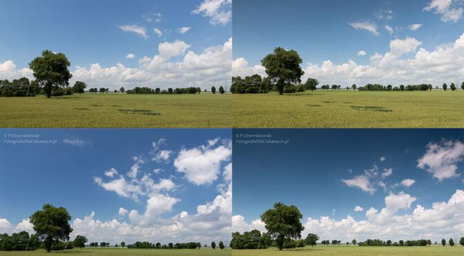 Zdjęcia z chmurami – filtr polaryzacyjny, połówkowy i bez filtra – porównanie