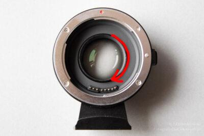 Viltrox EF-M2 II - adapter bagnetowy Canon EF doMFT - ustawianie ostrzenia nanieskończoność