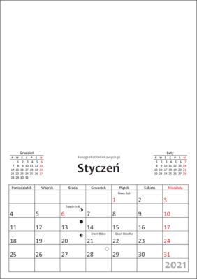 Kalendarz 2021 dowydrukowania - miesiące iświęta