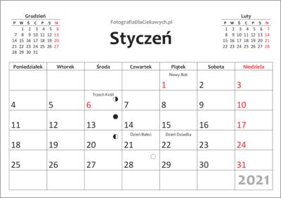 Kalendarz 2021 dodruku nacałą stronę - miesiące, święta
