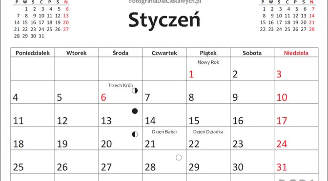 Kalendarz 2021 do druku – plik PDF oraz inne formaty również do edycji