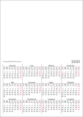 Kalendarz 2021 dowydrukowania - układ roczny, pionowy