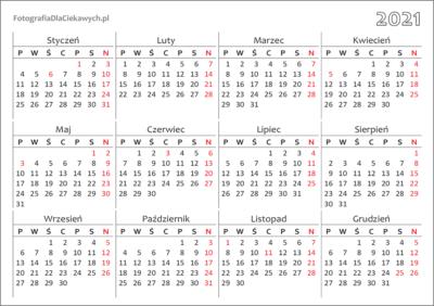 Kalendarz 2021 dodruku nacałą stronę - układ roczny