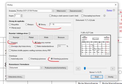 Drukowanie kalendarza zpliku PDF