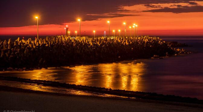 Kołobrzeg po zachodzie słońca