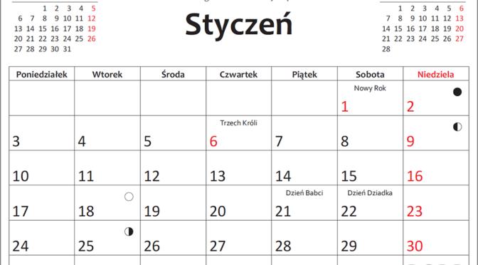 Kalendarz 2022 do druku – plik PDF oraz inne formaty również do edycji
